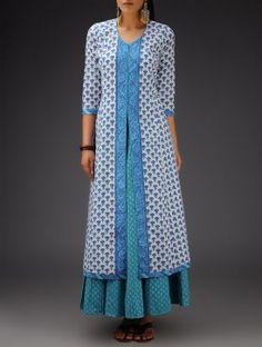 White-Blue Printed Bias-Cut Cotton Jacket Churidar Designs, Kurta Designs Women, Kurta Patterns, Dress Patterns, Dress Neck Designs, Blouse Designs, Indian Dresses, Indian Outfits, Kurta Neck Design