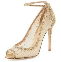 Gemma crystal peep-toe ankle-strap pump by Gianvito Rossi. Gianvito Rossi sheer mesh and leather pump with degrade crystals set throughout. covered he. Walk In My Shoes, Me Too Shoes, Ankle Strap Heels, Ankle Straps, Extreme High Heels, Gold Pumps, Pumps Heels, Nude Shoes, Evening Shoes