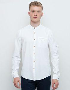 3a7bdcf51 Pull Bear - hombre - camisas - camisa estructura cuello mao - blanco -  09471540-I2015