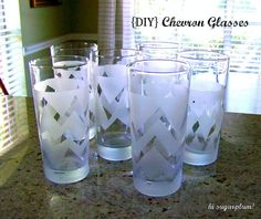 DIY frosted chevron glasses
