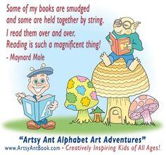 Artsy Ant with Maynard Mole, encouraging children to enjoy reading.