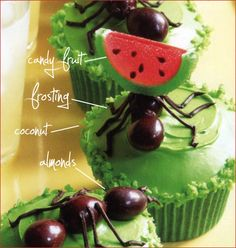 boys bug cupcake chocolate almond ants