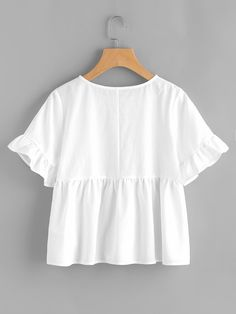 Online shopping for Ruffle Sleeve Babydoll Top from a great selection of women's fashion clothing & more at MakeMeChic. Mode Outfits, Casual Outfits, White Shirt Outfits, Diy Clothes, Clothes For Women, Diy Kleidung, Look Girl, Looks Plus Size, Plain Tops
