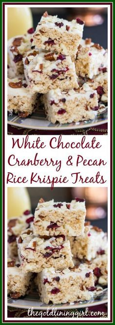 crispy treats A Christmas version of a rice krispie treat these are festive and delicious! With a classic combo of white chocolate, cranberries, and pecans, these come together in minut Carré Rice Krispies, Reis Krispies, Köstliche Desserts, Delicious Desserts, Dessert Recipes, Chocolate Blanco, White Chocolate, Rice Krispy Treats Recipe, Healthy Rice Krispie Treats