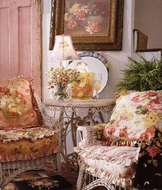 """A rose theme is carried out here with the cushions and rose print hanging above. This photo is from Carolyn Westbrook's book """"Home"""". I love her style and have all of her books!"""