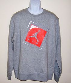 Nike Mens Air Jordan Hangtag Fleece Sweatshirt Size XL NEW Gray #Nike #SweatshirtCrew