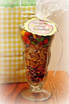 """""""Wishing you a relaxing Sundae"""" - so cute; this would have made a cute Mother's Day craft for the kids.  Maybe next year"""
