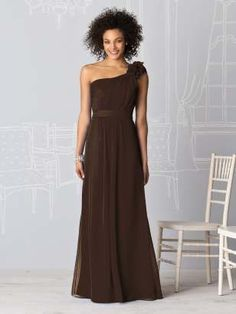 One shoulder with flower empire waist floor length brown bridesmaid dresses after six