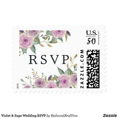 """Violet & Sage Wedding RSVP Postage Elegant floral wedding postage stamps feature posies of watercolor flowers lilac and lavender purple with pale green botanical foliage, surrounding """"RSVP."""" A perfect custom finishing touch for your wedding RSVP envelopes or postcards, designed to coordinate with our Violet & Sage collection."""