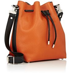 Proenza Schouler Women's Medium Bucket Bag (44.175 RUB) ❤ liked on Polyvore featuring bags, handbags, orange purse, leather drawstring pouch, genuine leather handbags, orange leather purse and leather bucket bags