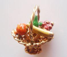 9ct Gold and Enamel Basket of Fruit Charm - HM 1972