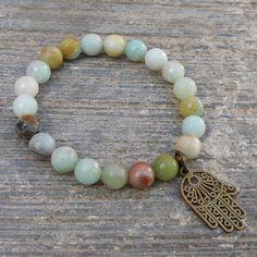 positivity, multi tone genuine amazonite gemstone mala bracelet