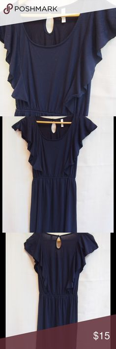 "Buy 2@$10 get 1 free Navy blue dress Super cute dress, add a belt for fun!  Poly/rayon/spandex blend.  Soft and stretchy!  Underarm to underarm is 16 3/4"" elastic waist is 11"" and shoulder to hem is  35"" Xhilaration Dresses"