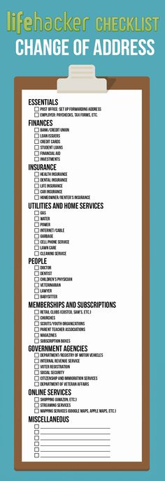 Your Address Everywhere On This Printable Checklist When You Move Your Address Everywhere On This Printable Checklist When You Move Free Printable: A Change of Address Checklist More Moving Checklist . Moving Day, Moving Tips, Moving Hacks, Moving Out List, Moving House Tips, Moving Check Lists, Info Board, 1000 Lifehacks, Move On Up
