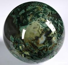 Green Moss Agate Sphere ~ it's like a world inside a stone ♥ Moss Agate enhances concentration, persistence, endurance & success in one's endeavors; strengthens in times of stress. An abundance stone.