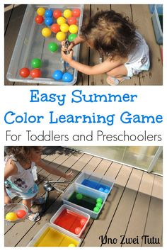 A cool and easy activity to practice colors and fine motor skills with your toddler or preschooler. It is a fun alternative to simple water play to keep kids cool during the summer