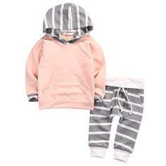 Samgami Baby Toddler Infant Baby Girls Deer Long Sleeve Stripe Hoodie Tops Sweatsuit Pants Outfit S