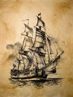 Read the full title Nautical Print / Vintage Ship Print / Pirate Print / Vintage Sailing Ship Print / Sailing Ship Wall Art