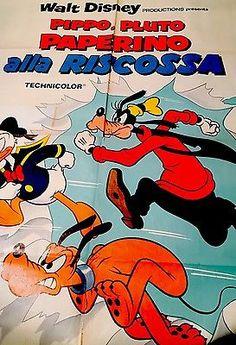 Manifesto Cinema WALT DISNEY Pippo Plutone e Paperino alla Riscossa 140x100 | eBay