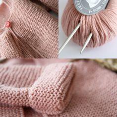 """La veste """"rose poudré,  free pattern in French by les tricots de Granny"""
