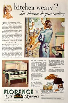 1934 Florence Oil Ranges Stove Ad - Farmhouse Kitchen Decor - Nostalgic Gift for a Cook. Vintage print ad from the Retro Reveries shop on Etsy. Retro Advertising, Retro Ads, Vintage Advertisements, Vintage Ads, Vintage Prints, Etsy Vintage, Vintage Food, Vintage Paper, Farmhouse Apron Sink