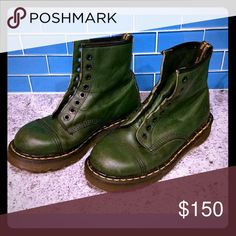 💋MAKE ME AN OFFER☆VINTAGE DOC MARTENS BOOTS ☆RARE Rare vintage Dr. Martens boots, made in England. Made of supple, dark green leather. These have chunky soles and black outsole stitching. In great used shape, with scuffs and light surface wear on the leather. Made from rich, soft, supple, T-leather upper with hidden heat-sealing, traditional Z welt-stitch and Goodyear Welt construction.This boot gives extended durability and wear.Boots like these are listed on eBay for $175. Dr. Martens…