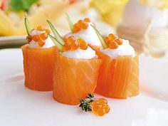 Salmon rolls for new year's table.