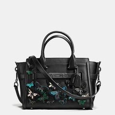 COACH Swagger 21 Carryall with Butterfly Appliqué in Glovetanned Leather COACH - Handbags - Bloomingdale's Coach Handbags, Coach Purses, Coach Bags, Purses And Bags, Satchel Handbags, Coach Swagger 27, Black Leather Handbags, Leather Bags, Leather Purses