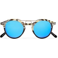 KREWE St. Louis round-frame acetate and silver-tone mirrored... (3.246.115 IDR) ❤ liked on Polyvore featuring accessories, eyewear, sunglasses, black, mirrored glasses, mirror lens sunglasses, round acetate sunglasses, mirrored lens sunglasses and round mirrored sunglasses