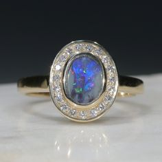 Natural Australian Solid Boulder Opal and Diamond Gold Ring Size 7  Code - RL46 10k Gold Ring, Gold Diamond Rings, Gold Rings, Gemstone Rings, Natural Opal, Natural Diamonds, Opal Color, Australian Opal, Opal Jewelry