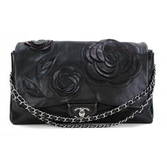 d6487bd01ad Chanel Black Lambskin Leather Tweed Petals Camellia Maxi Flap Bag. Mosh Posh  Designer Consigner