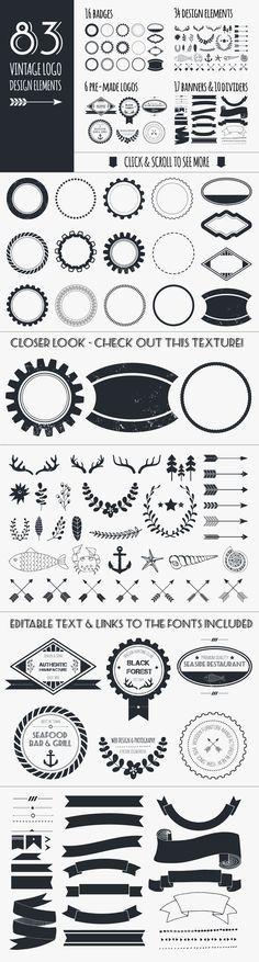 Check out Vintage Logo Elements Bundle by Favete Art on Creative Market