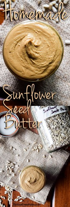 Homemade Sunflower Seed Butter - the nut-free solution to peanut butter cravings! Sunflower Seed Recipes, Sunflower Butter, Sunflower Kernels, Peanut Butter Alternatives, Homemade Butter, Nut Free, Raw Food Recipes, Whole30 Recipes, Healthy Recipes