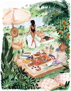Picnic In the South of France Art Print by Sabina Fenn Illustration - X-Small Illustrations, Illustration Art, France Art, Aesthetic Art, Art Inspo, Canvas Wall Art, Watercolor Paintings, Art Drawings, Art Projects