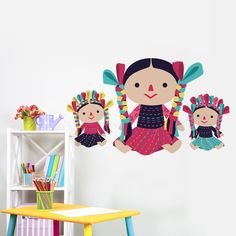 vinilo decorativo muñecas marías 30x18