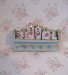 dollhouse Bedroom shelf, duck egg blue,  Twelfth scale dollhouse miniature