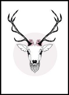 Vacker poster från MHMP, hjort med horn och blommor.