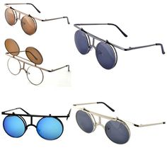 VTG 30s Style Flip Up Round Sunglasses NEW Retro Steampunk/Bauhaus Metal Glasses