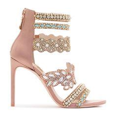 #SophiaWebster: Chic antique rose satin sandal bootie with crystal embellished multi straps.