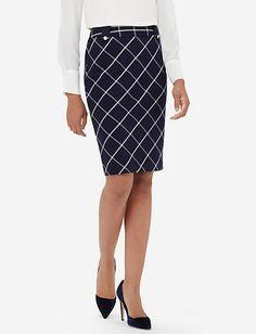 Preppy Grid Pencil Skirt