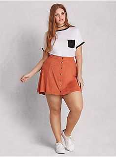 "<p>A ""she's with the band"" kind of mini skirt. While the A-line silhouette offers a mod squad straight fit, the button front and silky-soft burnt orange faux suede are totally set for a summer of love. A higher waist just fuels the peace-and-love feels.</p>  <ul> 	<li>Size 1 measures 17 3/4"" from center front</li> 	<li>Microfiber/spandex</li> 	<li>Hand wash cold, dry flat</li> 	<li>Made in USA plus size skirt</li> </ul>"