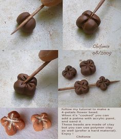Love these. Make flower shaped beads from Clay - free tutorial, DIY, jewelry making