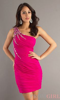 Short Pink One Shoulder Party Dress by Dave