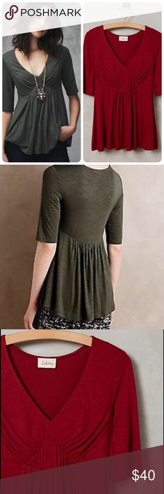 """Anthropologie Pleated Empire tee Beautiful comfy tee with feminine touch❤️perfect color for fallPleated in front makes it different from casual tees it flares on the bottom part making it suitable to hide the trouble areaSoft comfy tee Rayon-spandex jersey, Machine wash length 25"""" BRAND NEW Necklace not included Anthropologie Tops Tees - Short Sleeve"""