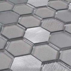 Glass Metal Mosaic Tile Hexagon Grey is a blend of frosted and clear glass, and metal tiles in a hexagon pattern for kitchen, backsplash, bath, and shower. Kitchen Wall Tiles, Bathroom Floor Tiles, Bathroom Wall, Kitchen Backsplash, Bathroom Grey, Classic Bathroom, Bathroom Inspo, Bathroom Colors, Bathroom Cabinets