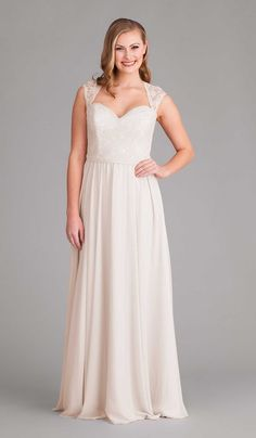 A long and romantic, lace and chiffon dress in Ivory. | Kennedy Blue Rosie