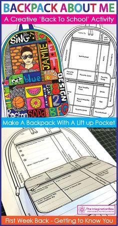 Create a 'Backpack About Me'! Get to know upper elementary and middle school kids with this easy and fun art and writing activity for the classroom. All About Me Activities, First Day Of School Activities, 1st Day Of School, Beginning Of The School Year, Middle School Art, Writing Activities, School Kids, Writing Resources, Back To School Art Activity