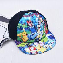 A Nova moda caráter das Crianças bonés de beisebol hip hop chapéu para os meninos e meninas impresso Pokemon ir boné de Beisebol A112(China (Mainland))