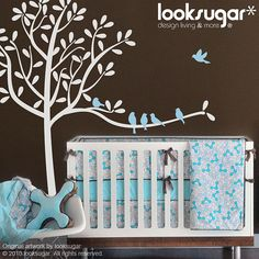 NEW Modern Tree Wall Decals Tree Decal with Bird by looksugar, $98.00