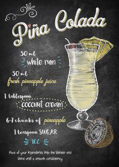 "Chalkboard Bar Cocktails Piña Colada artwork by artist ""Joan Derpp"". Cocktails Bar, Bar Drinks, Cocktail Drinks, Alcoholic Drinks, Beverages, Coffee Cocktails, Mixed Drinks Alcohol, Alcohol Drink Recipes, Fireball Recipes"